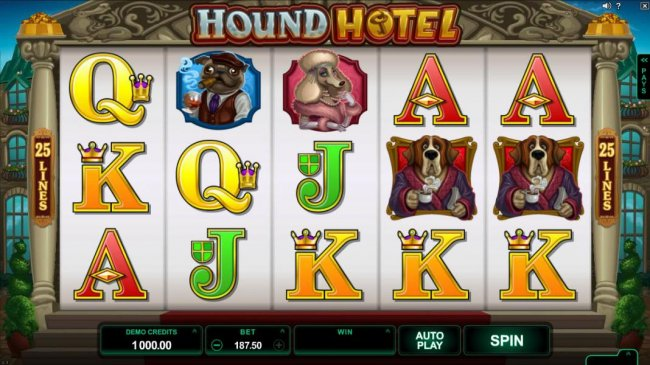 Main game board featuring five reels and 25 paylines with a $550,000 max payout - Free Slots 247