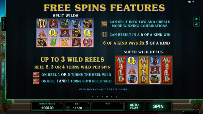 Free Spins Feature - Split Wilds - game logo can split into two and create more winning combinations. Double wild can result in a 6 of a kind win. 6 of a kind pays 2x 5 of a kind. Super Wild Reels - Up to 3 wild reels, reel 2, 3 or 4 turns wild per spin.
