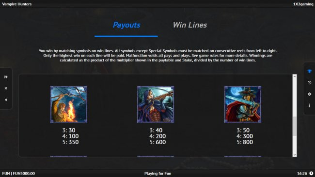 Paytable - Medium Value Symbols - Free Slots 247