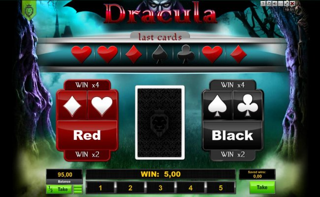 Double Up gamble feature is available after every winning spin. Select the correct color or suit for a chance to double your winnings. - Free Slots 247
