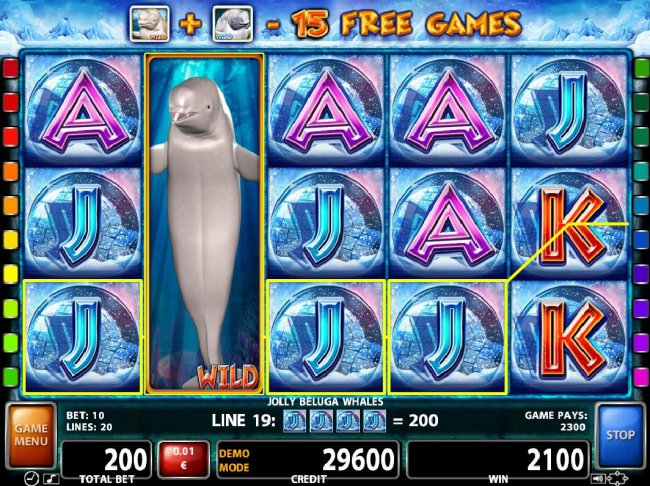 Stacked Beluga whale wild on reel 2 triggers a 2300 coin big win. - Free Slots 247