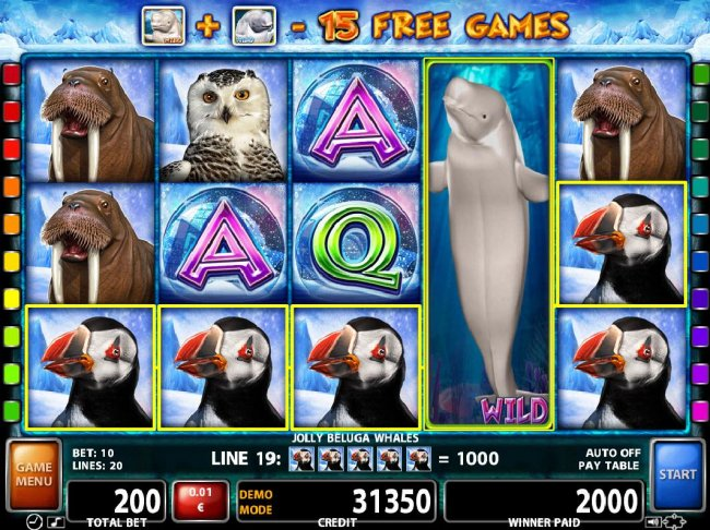 A pair of Puffin five of a kinds triggers a 2000 coin jackpot. - Free Slots 247