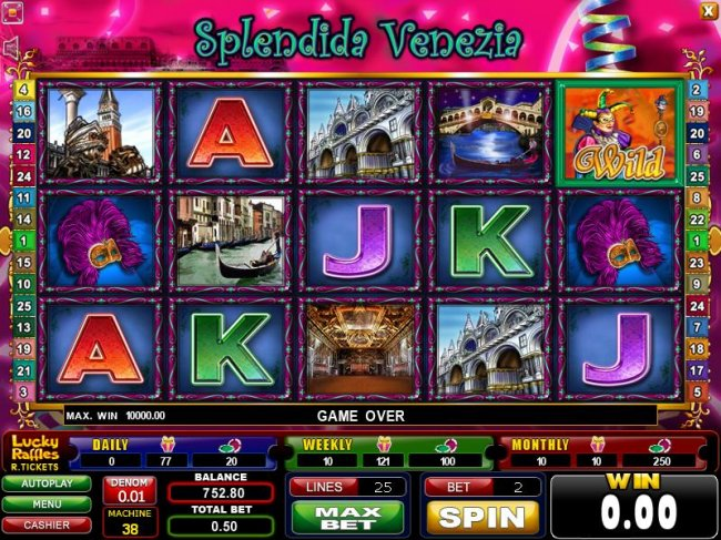 main game board featuring five reels and twenty-five paylines - Free Slots 247