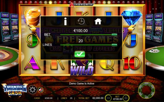 Click on the GEAR button to adjust the coin size and numbers of lines played. - Free Slots 247