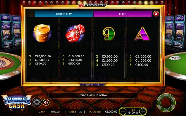 Medium Value Slot Game  Symbols Paytable - Free Games Bonus. by Free Slots 247