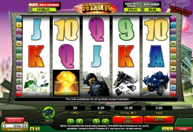 Main game board featuring five reels and 25 paylines with a $50,000 max payout by Free Slots 247