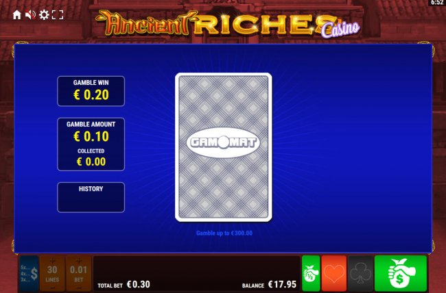 Free Slots 247 - Card Gamble Feature Game Board