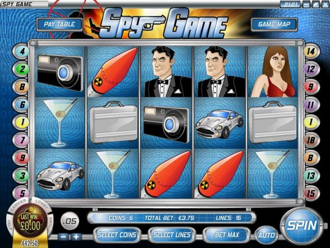 main game board featuring five reels and twenty paylines - Free Slots 247
