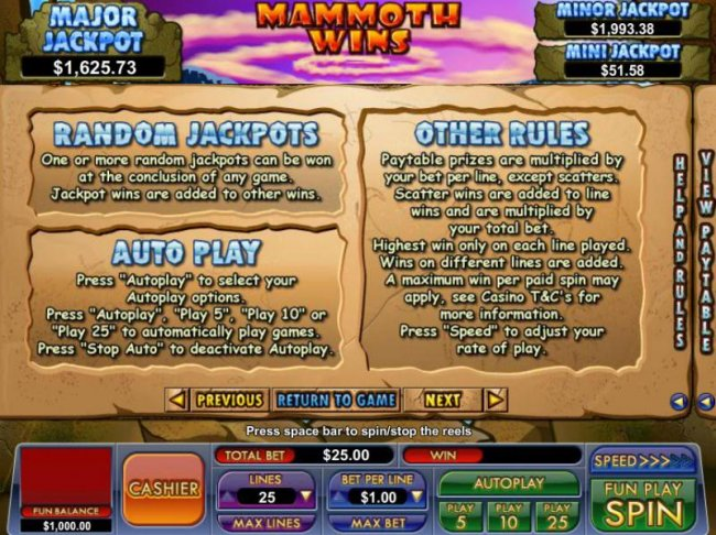 Free Slots 247 - random jackpots rules and general game rules
