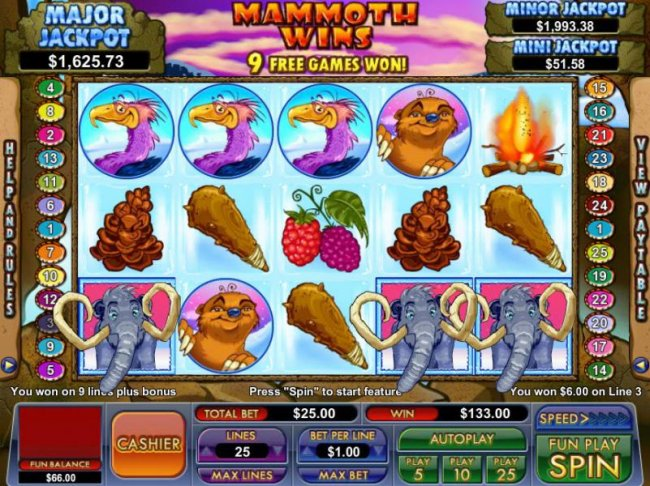 Free Slots 247 - free games feature triggered by three elephant icons