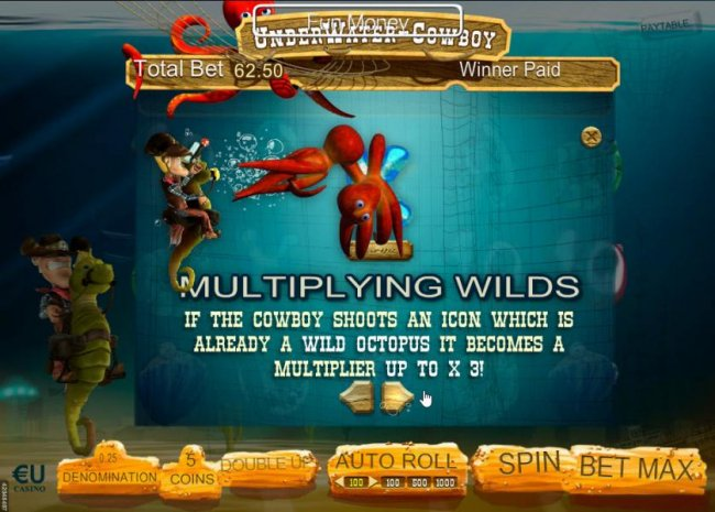 If the cowboy shoots an icon which is already a wild octopus it becomes a multiplier up to x3! by Free Slots 247