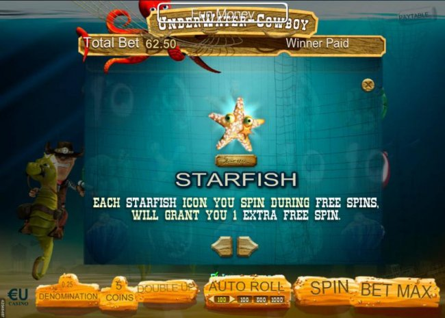 Free Slots 247 - Each starfish icon you spin during free spins, will grant you 1 extra free spin.