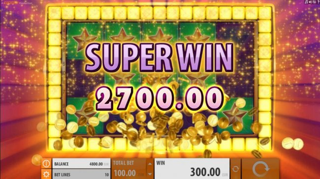 A 2700 Super Win is triggered with the placement of the additonal star symbols. by Free Slots 247