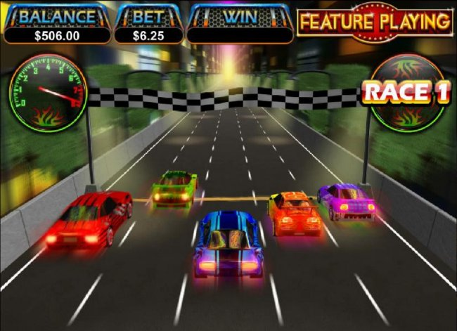 the green car crosses the finish line first - Free Slots 247