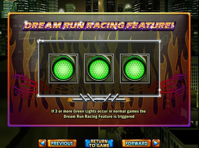 If three or more Green Lights occur in normal games the Dream Run Racing Feature is triggered. - Free Slots 247