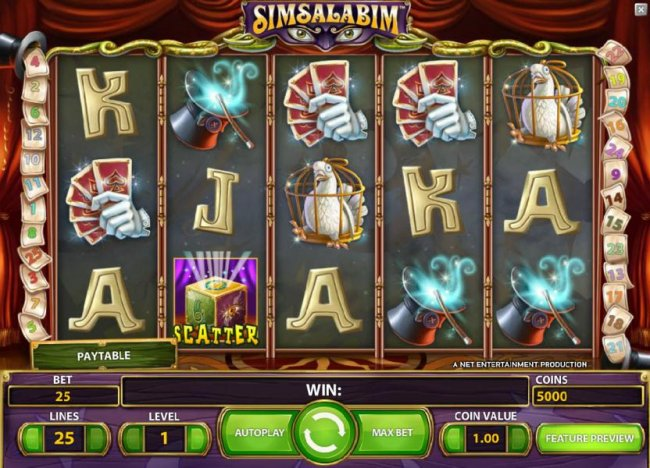 main game board featuring five reels, 25 paylines and a chance to win up to 225000 coins - Free Slots 247