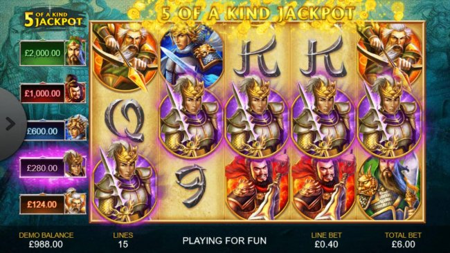 A winning Five of a Kind triggers a progressive jackpot payout. - Free Slots 247