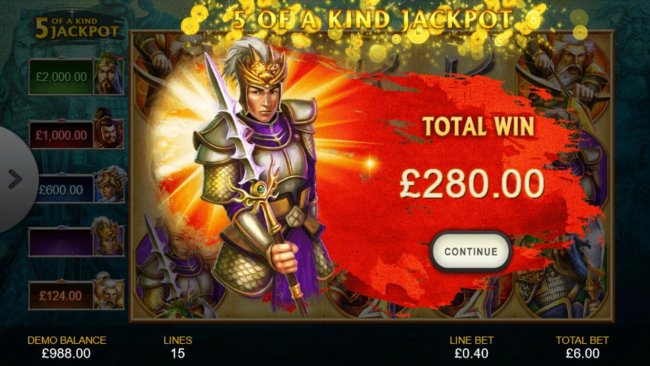 One of five progreesive jackpots pays out 280.00 by Free Slots 247