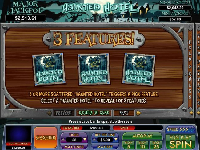 3 or more scattered Haunted Hotel triggers a Pick Feature. Select a Haunted Hotel to reveal 1 or 3 features. by Free Slots 247