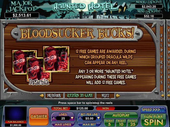 Blood sucker Bucks - 12 free games are awardedm during which grouped dracula wilds can appear on any reel. by Free Slots 247