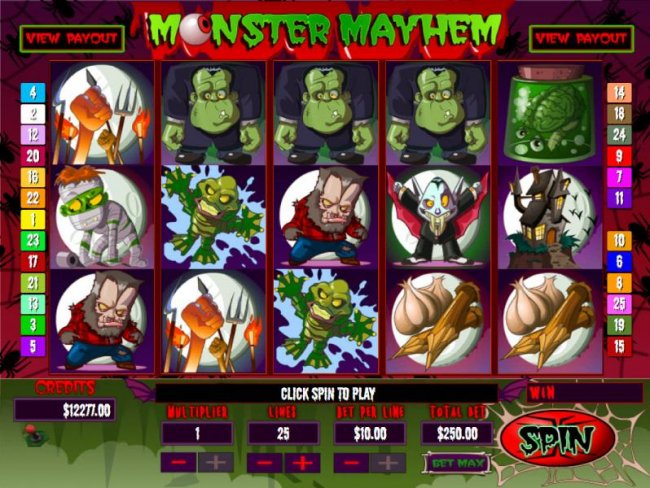 Main game board featuring five reels and 25 paylines with a Jackpot max payout - Free Slots 247