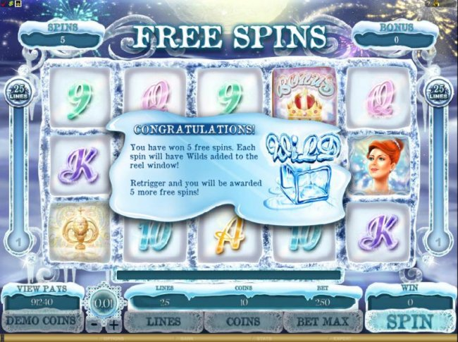 you have won 5 free spins. each spin will have wilds added to the reel window - Free Slots 247