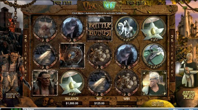 A fantasy themed main game board featuring five reels and 25 paylines - Free Slots 247