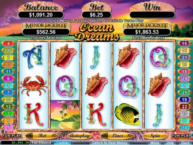 An ocean adventure themed main game board featuring five reels and 25 paylines with a $250,000 max payout - Free Slots 247