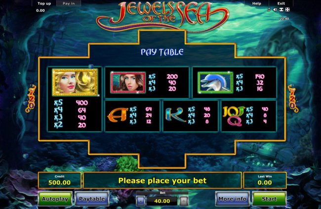 Free Slots 247 - Slot game symbols paytable featuring undersea inspired icons.
