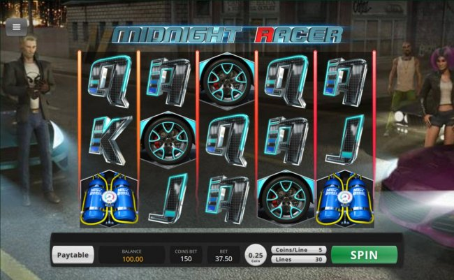Street racer themed main game board featuring five reels and 30 paylines with a $156,000 max payout by Free Slots 247