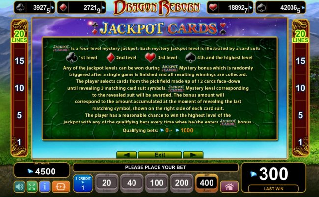 Free Slots 247 - Jackpot Cards Mystery Bonus - Any of the jackpot levels can be won during the bonus feature which is randomly triggered.