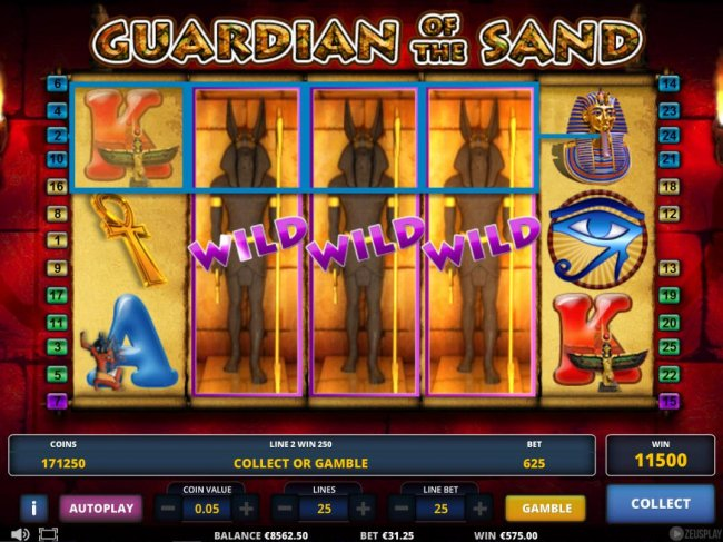 Stacked wild symbols on reels 2, 3 and 4 triggers an 11500 super win. - Free Slots 247