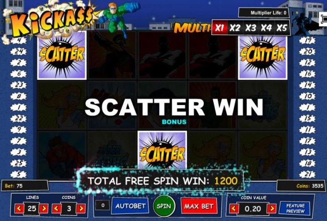 Free Slots 247 - Free Spins Bonus Round pays put a 1,200 coin big win!
