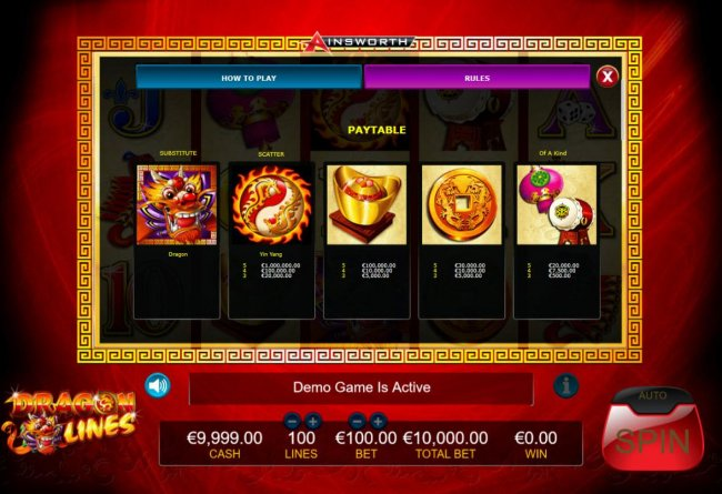 High value slot game symbols paytable. by Free Slots 247