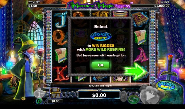 Select Super Bet to win bigger with more wild respins by Free Slots 247