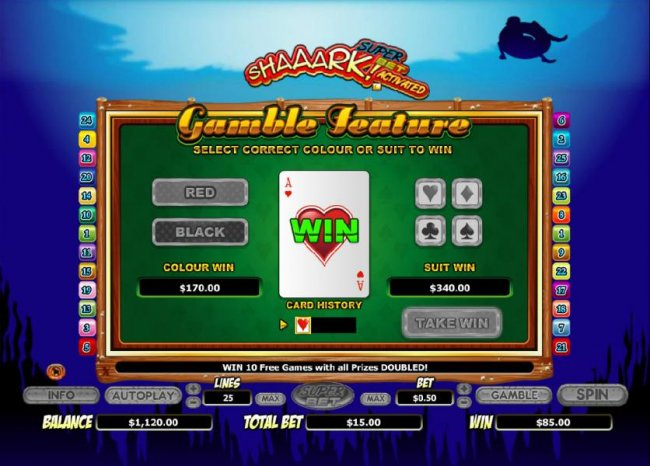 Free Slots 247 - gamble feature game board - select correct color or suit to win