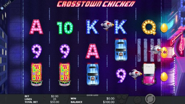 The chickens will use the crosswalk symbols to advance across the reels. The first chicken to reach the casino, awards a multiplier and a bonus game. by Free Slots 247