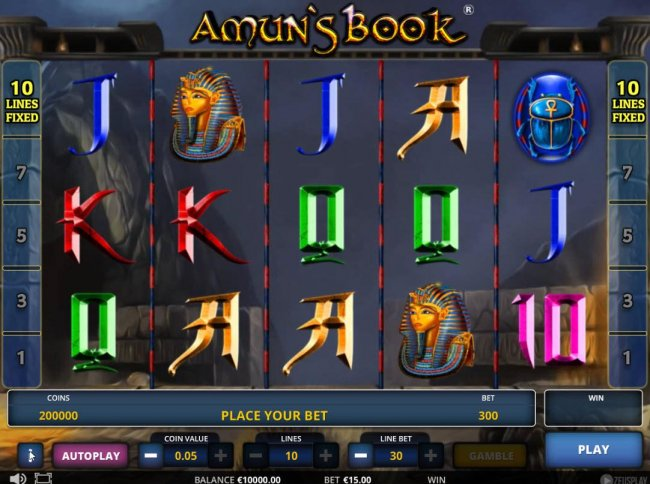 Main game board featuring five reels and 10 paylines with a $225,000 max payout. - Casino Bonus Lister