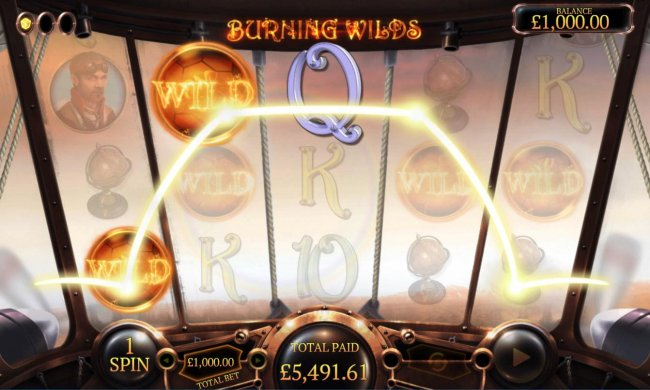 Burning Wilds feature triggers an big win by Free Slots 247