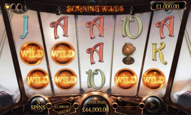 Burning Wlds feature triggers a super win by Free Slots 247