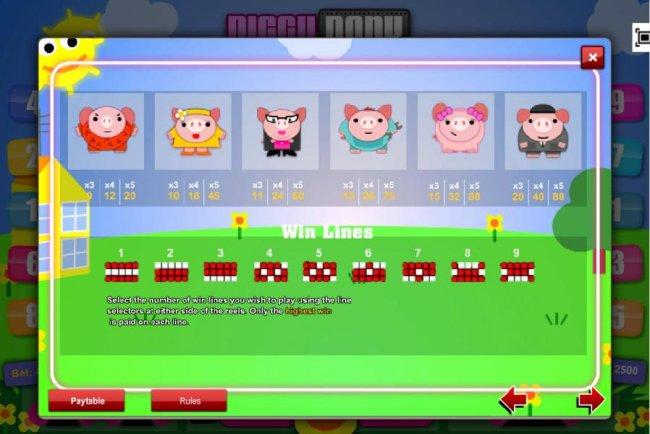 Slot game symbols paytable and payline diagrams - Casino Bonus Lister