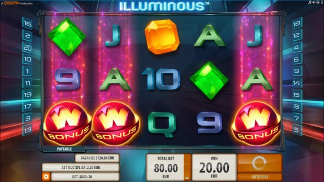 Three bonus wild scatter symbols triggers the free spins feature. by Free Slots 247