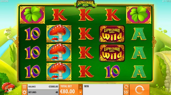 A leprechaun themed main game board featuring five reels and 40 paylines with a $12,000 max payout. by Free Slots 247