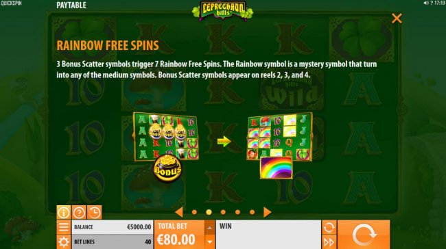 3 Bonus Scatter symbols trigger 7 Rainbow Free Spins. The rainbow symbol is a mystery symbol that turns into any of the medium symbols. Bonus Scatter symbols appear on reels 2, 3 and 4. by Free Slots 247