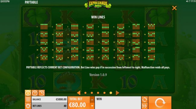 Payline Diagrams 1-40. Bet line wins pay if in succession from leftmost to right. - Free Slots 247