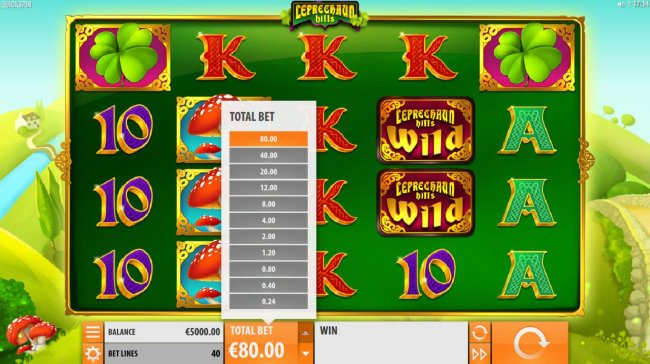Click on the total bet up arrow to select raise of lower the stake. by Free Slots 247