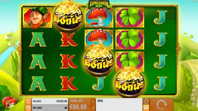 Landing three pot of gold scatter symbols triggers the Rainbow Free Spins Feature. - Free Slots 247