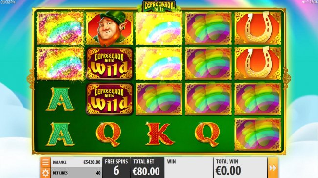 During the Rainbow Free Spins feature, the rainbow is the mystery symbol and can change into any medium value symbol. by Free Slots 247
