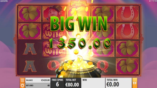 Mystery symbol chnages into shamrocks thus leading to a 1350.00 big win. by Free Slots 247