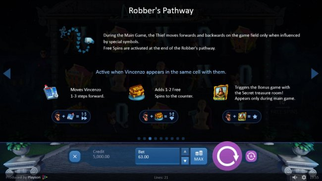 Robbers Pathway Rules - During the main game, the thief moves forwards and backwards on the game field only when infkuenced by special symbols. by Free Slots 247